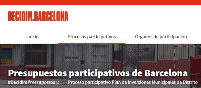"""Pantalla """"Decidim Barcelona"""", pressupostos participatius de l'Ajuntament de Barcelona"""